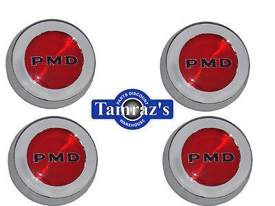70-72 Pontiac Rally 2 Center Caps Set PMD Red & Black
