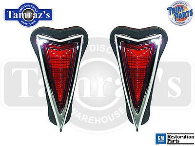 1968 Pontiac Rear Side Marker Lens Lamp Light Chrome Bezel Trim Assembly - PAIR