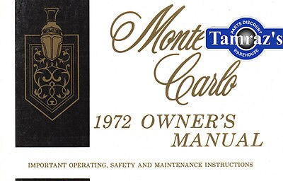 1972 72 Monte Carlo Owners Manual New