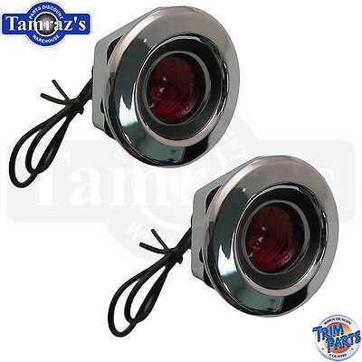 68 Dodge Rear Quarter Side Marker Light Lamp Red Lens assembly - CURVED Pair