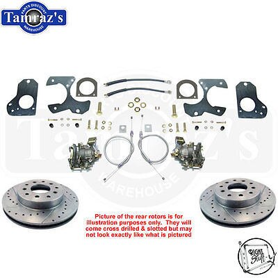 78-88 A/G 82-92 FBody & S10 REAR Disc Brake Kit Cross Drilled Slotted Rotors TRS
