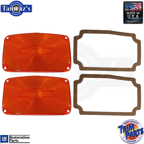 56 Chevy Parking Light Lamp Turn Signal Lenses Amber w/ Bowtie & Gaskets USA