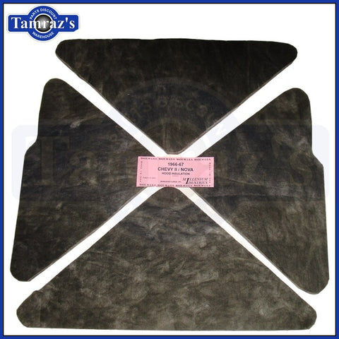 1966 1967 Chevy II Nova Hood Insulation Pad - 4 Piece Pre-Cut