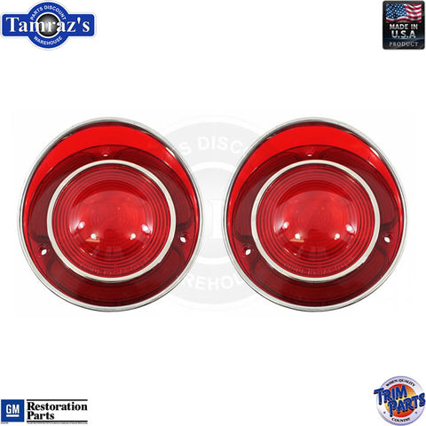 71-73 Corvette Rear Brake Turn Taillight Tail Light Lamp Lens USA - PAIR