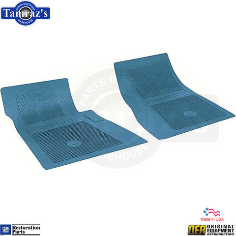 62-78 for Chevrolet 2 Piece Front Floor Mat Set with Bow Tie - MEDIUM BLUE - OER