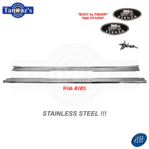 64-67 for GM A Body Door Sill Scuff Kick Plate STAINLESS STEEL with RIBS Pair