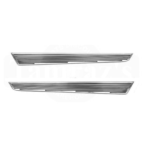 66 Chevelle Quarter Panel Lower Rocker Chrome Trim Molding Extension - PAIR
