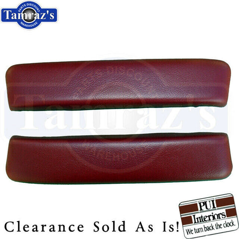 "65-67 Nova 4 Door Sedan Wagon Front ArmRest Arm Rest Pads10 1/2"" Red Clearance"