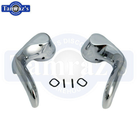 66-7 Chevelle GTO Cutlass Vent Wing Window Chrome Release Lever Lock Handle Set