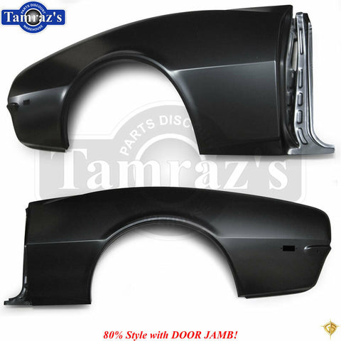 68 Camaro Rear Quarter Panel Skin 80% Repair Patch Style w/ Full DOOR JAMB - PR