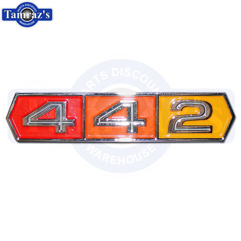 "1966-1967 Cutlass "" 442 "" Tri Color Trunk / Deck Lid Emblem NEW"