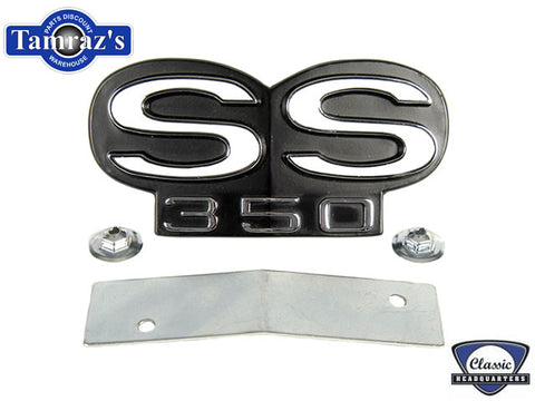 "1967 67 Camaro RS "" SS 350 "" Grille Emblem w/Retainer NEW CHQ Super Sport"