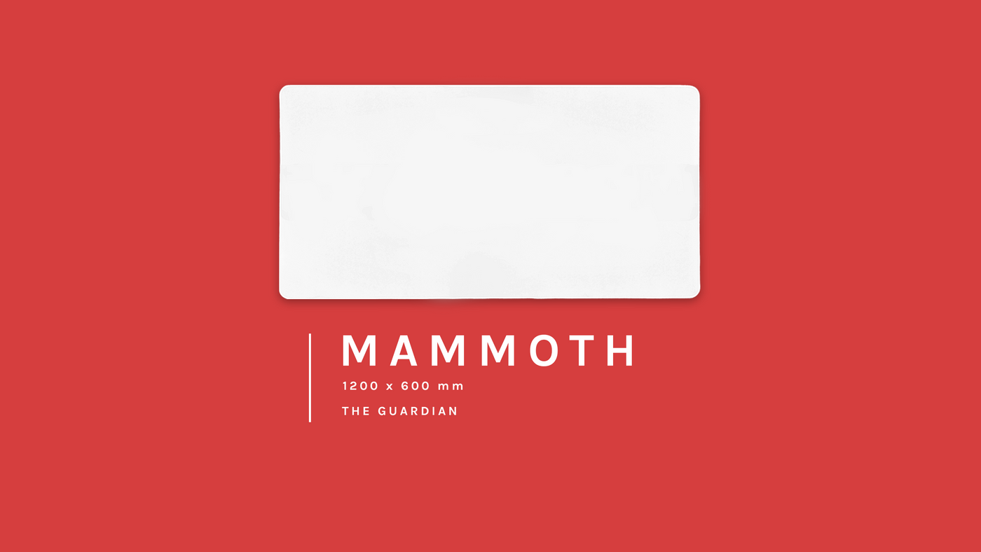 The Mammoth, 1200 by 600 millimetre blank custom gaming mouse pad on a courageous red background. It's our largest size and is also know as Guardian.