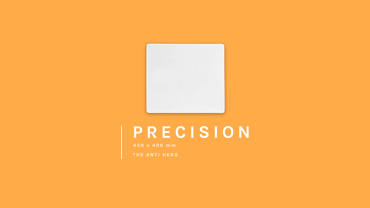 The Precision 450 by 400 millimetre blank custom gaming mouse pad on an adventurous orange background. Also known as the anti-hero, half the size of our Colossus but just as powerful.