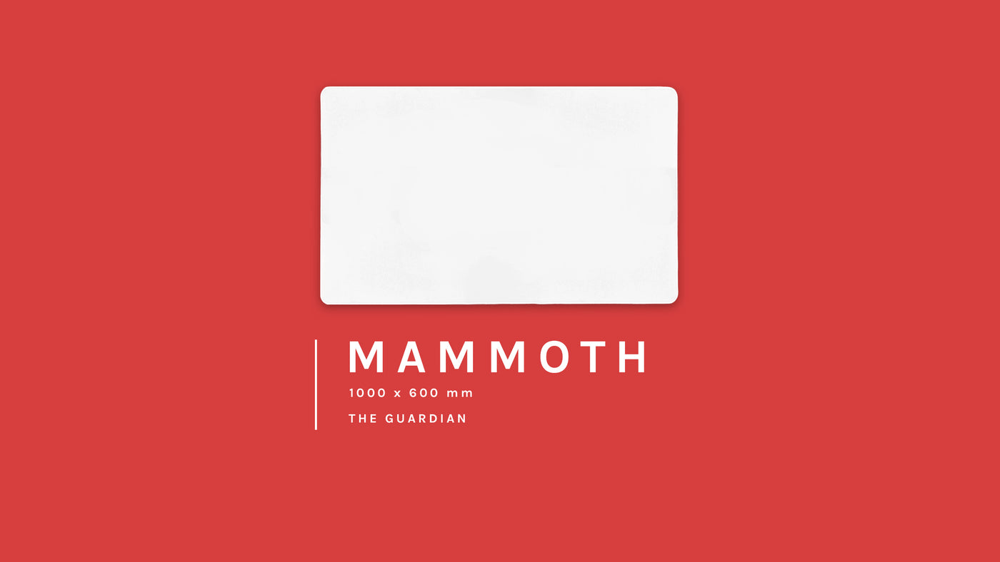 The Mammoth, 1000 by 600 millimetre blank custom gaming mouse pad on a courageous red background. It's our largest size and is also know as Guardian.