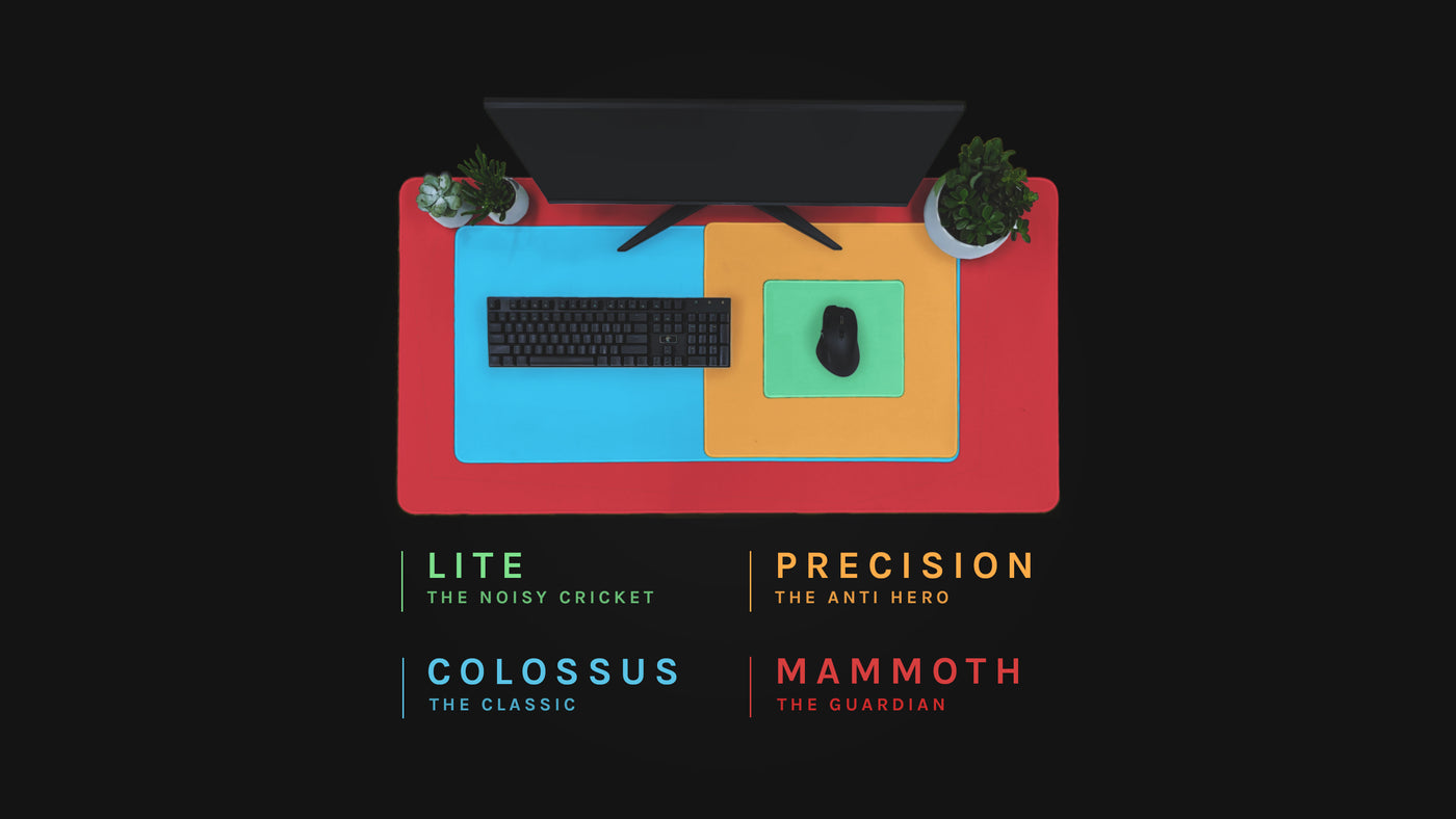 A birds eye view comparison of our custom mousepad sizes. From smallest to largest they are called The Lite 260 by 210, The Precision 450 by 400, The Colossus 900 by 400, The Mammoth 1200 by 600. Measurements are in millimetres.
