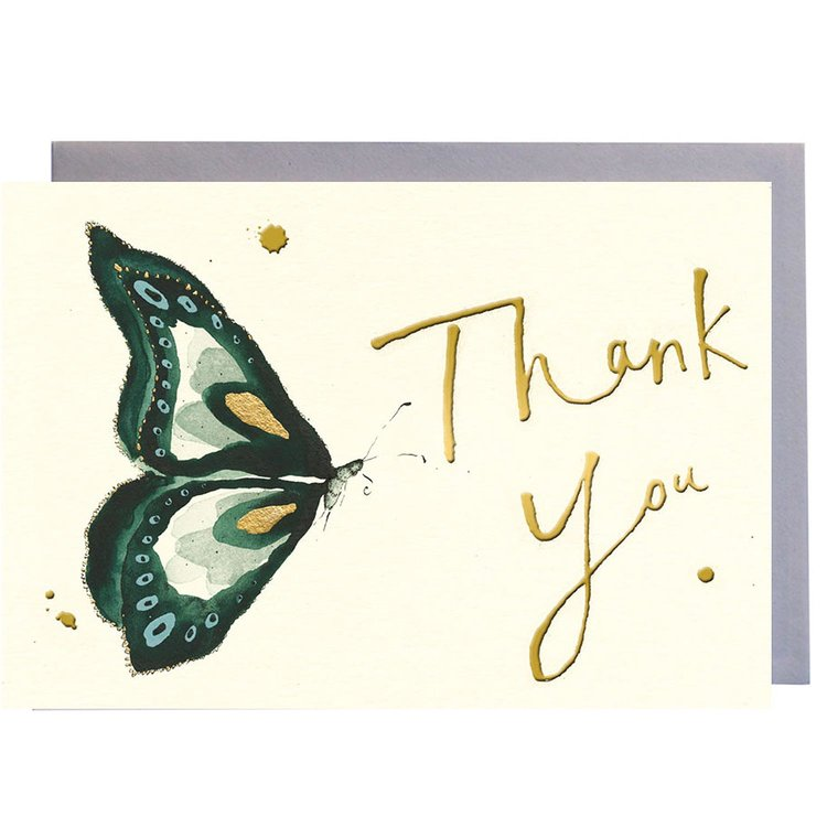 Thank You Green Butterfly Greeting Card