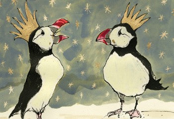 Christmas Puffins Greeting Card