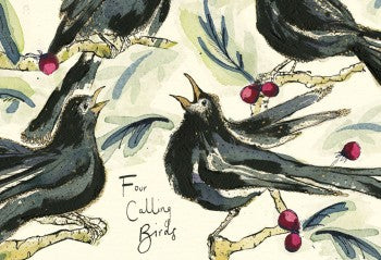 Four Calling Birds Greeting Card
