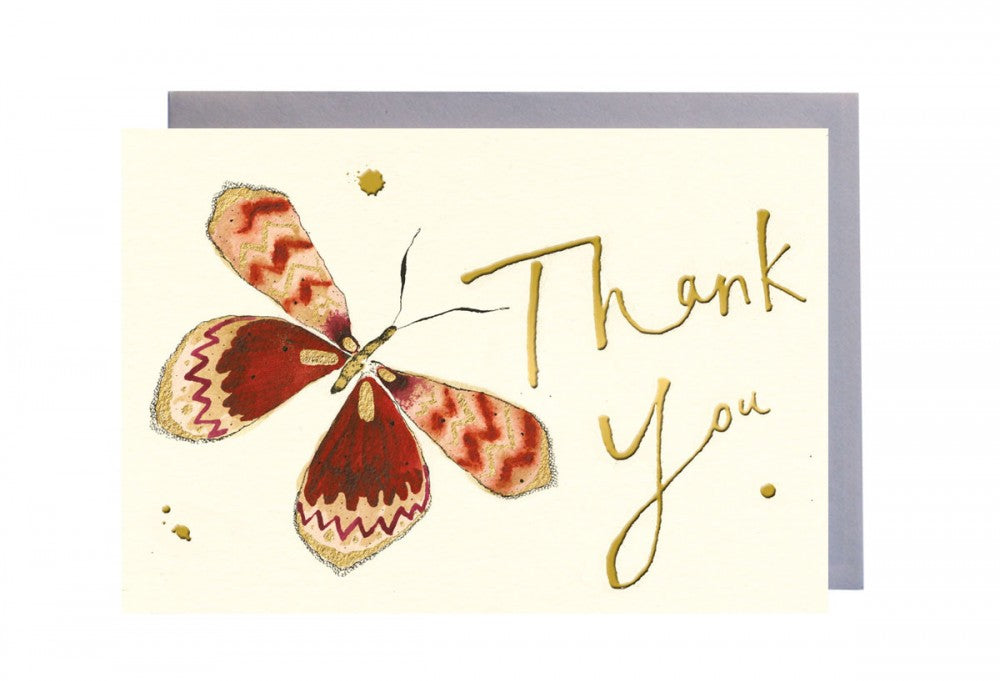 Thank You Orange Butterfly Greeting Card