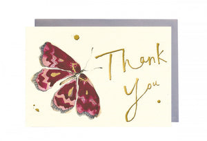 Thank You Pink Butterfly Greeting Card