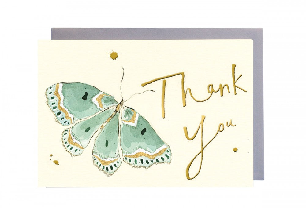 Thank You Turquoise Butterfly Greeting Card