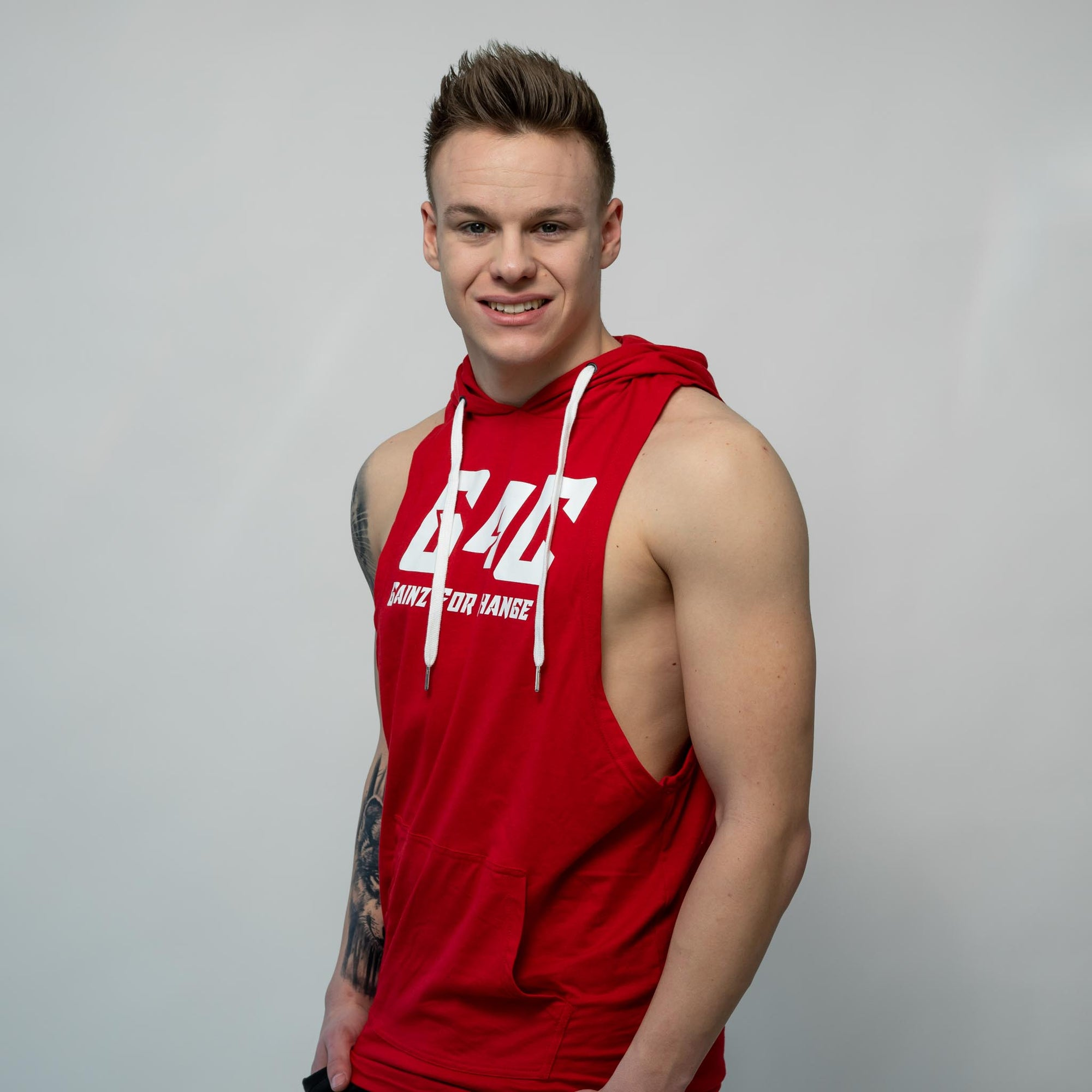 Gainz4Change Sleeveless Hoodie red - Gainz4Change