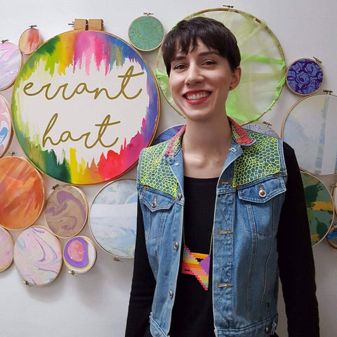 Anna Hart Turner of Errant Hart - an embroidery artist who creates embroidery pieces on sticks