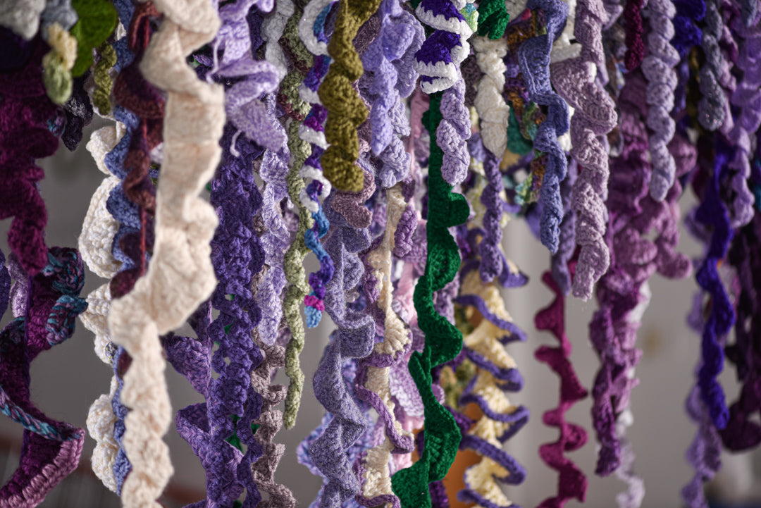 detail shot of the #100womenproject a collaborative fiber art installation by Amy Reader, fiber artist based in Charlotte, NC