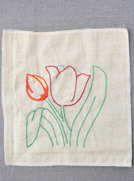 Partially embroidered tulip that was started by the grandmother of Amy Reader - a fiber artist in Charlotte, NC