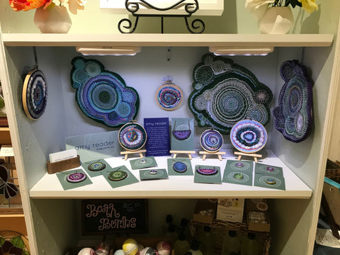 Display of handmade work by Amy Reader at Meraki Handmade in Greensboro, NC