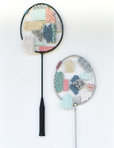 Woven tennis racket by Emma Young (@eay.creates)
