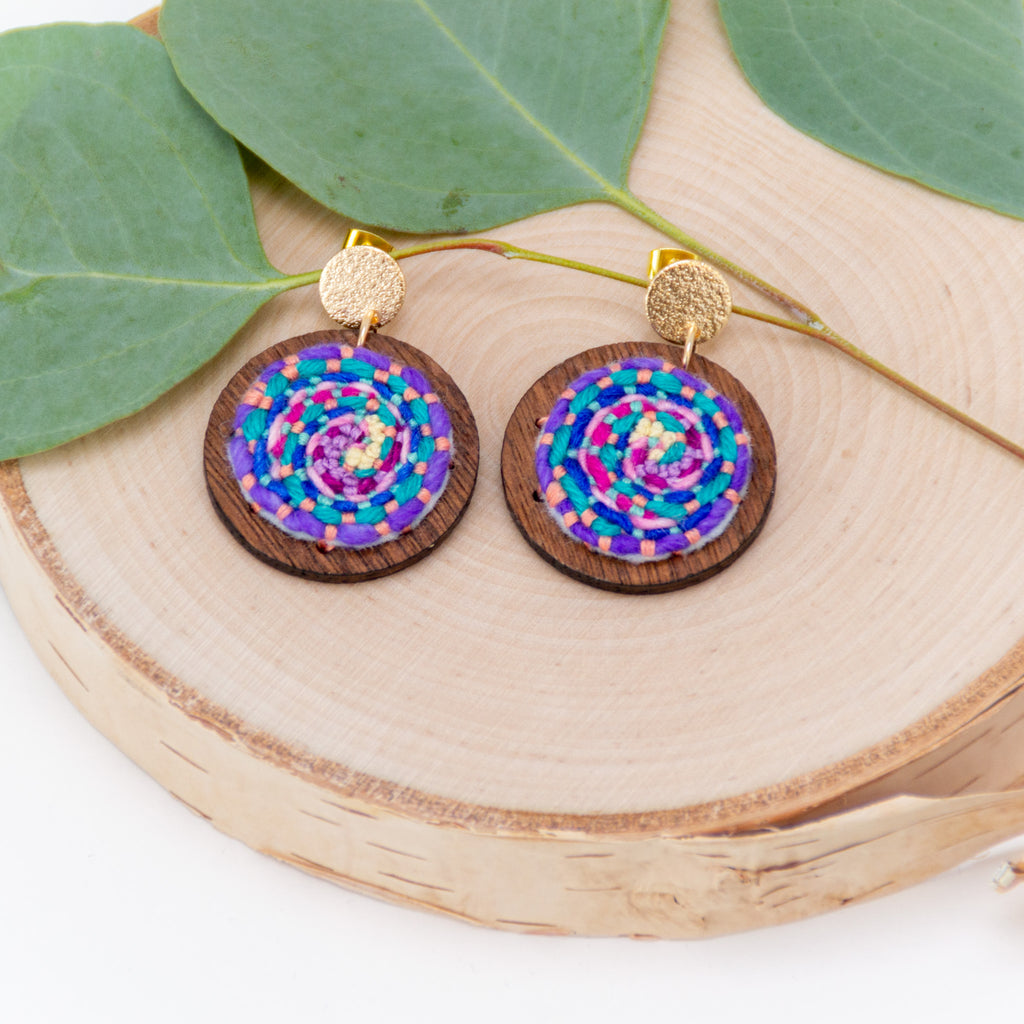 Cosmic Swirl Earrings - pink accent