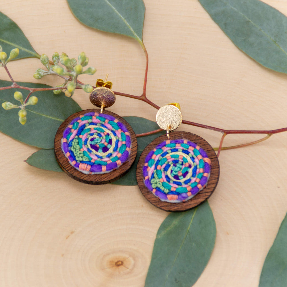 Cosmic Swirl Earrings - green accent