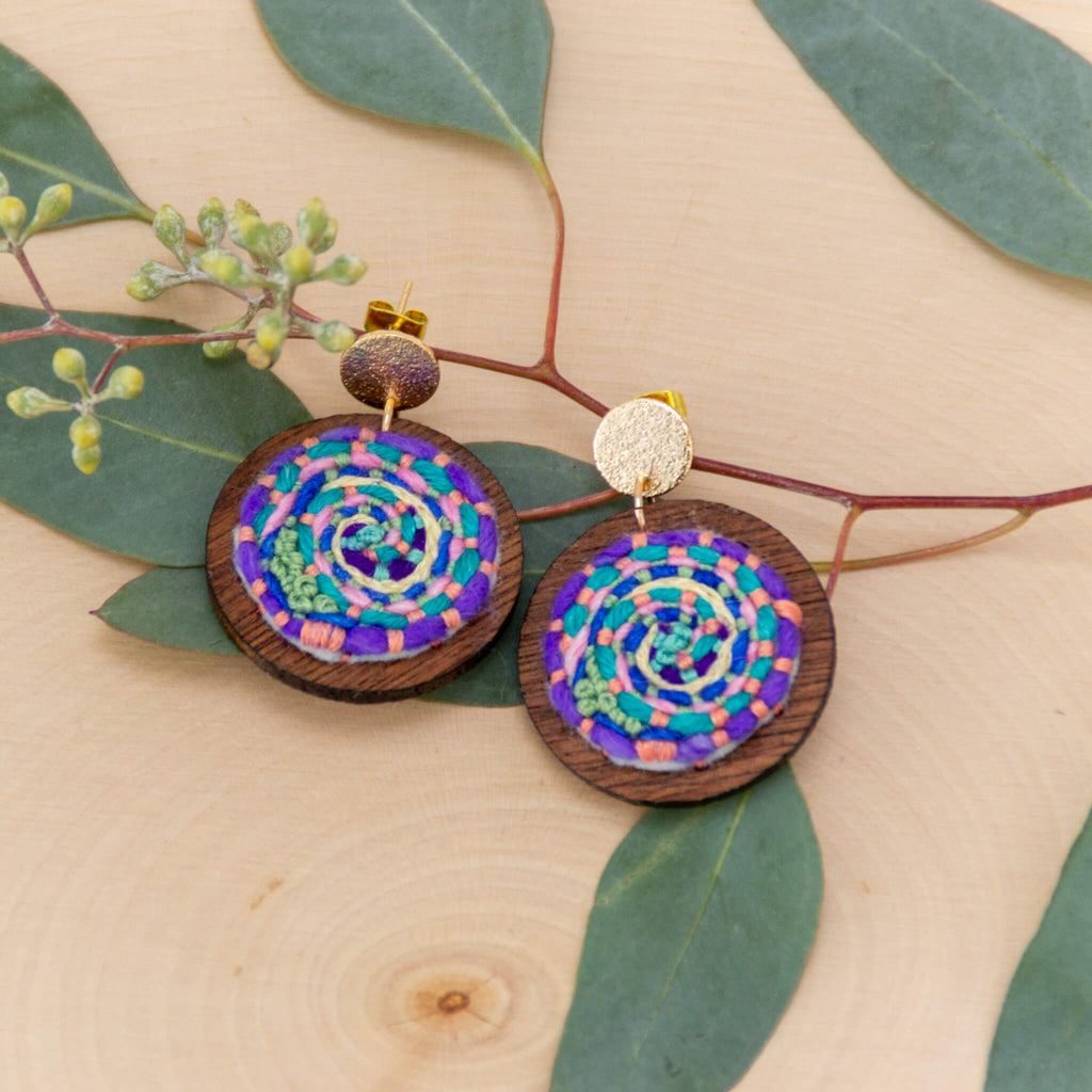 *NEW* Cosmic Swirl Earrings - green accent