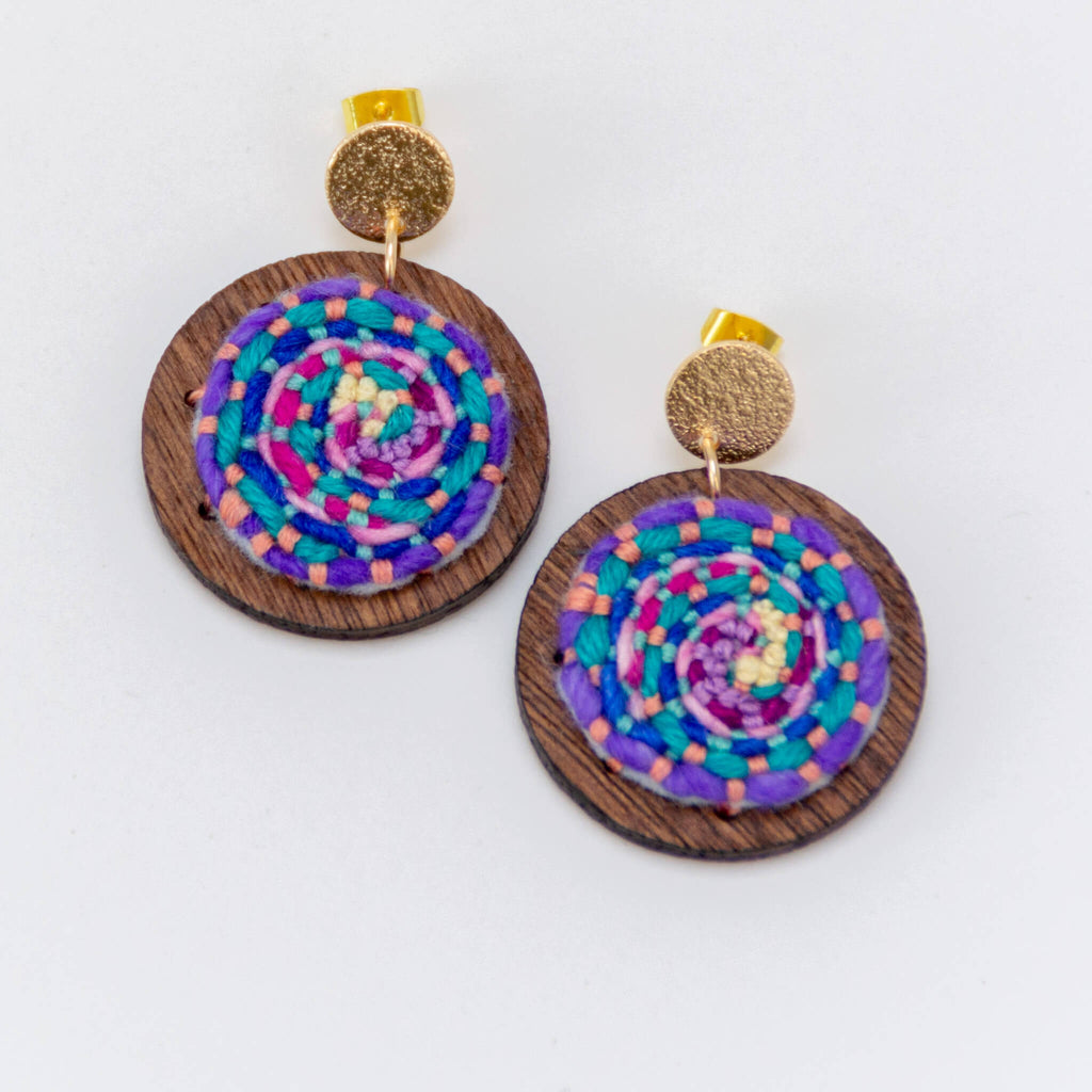 *NEW* Cosmic Swirl Earrings - pink accent