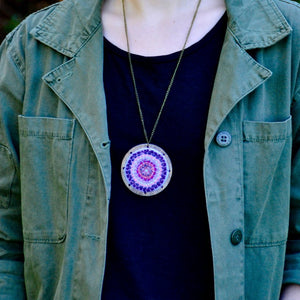 Hand sewn circle pendant necklace hand crafted in Charlotte, North Carolina. Bohemian inspired jewelry for every day wear.