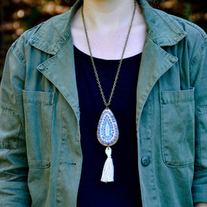 Teardrop Pendant - Hand Sewn Necklace on Laser Cut Wood with Tassel