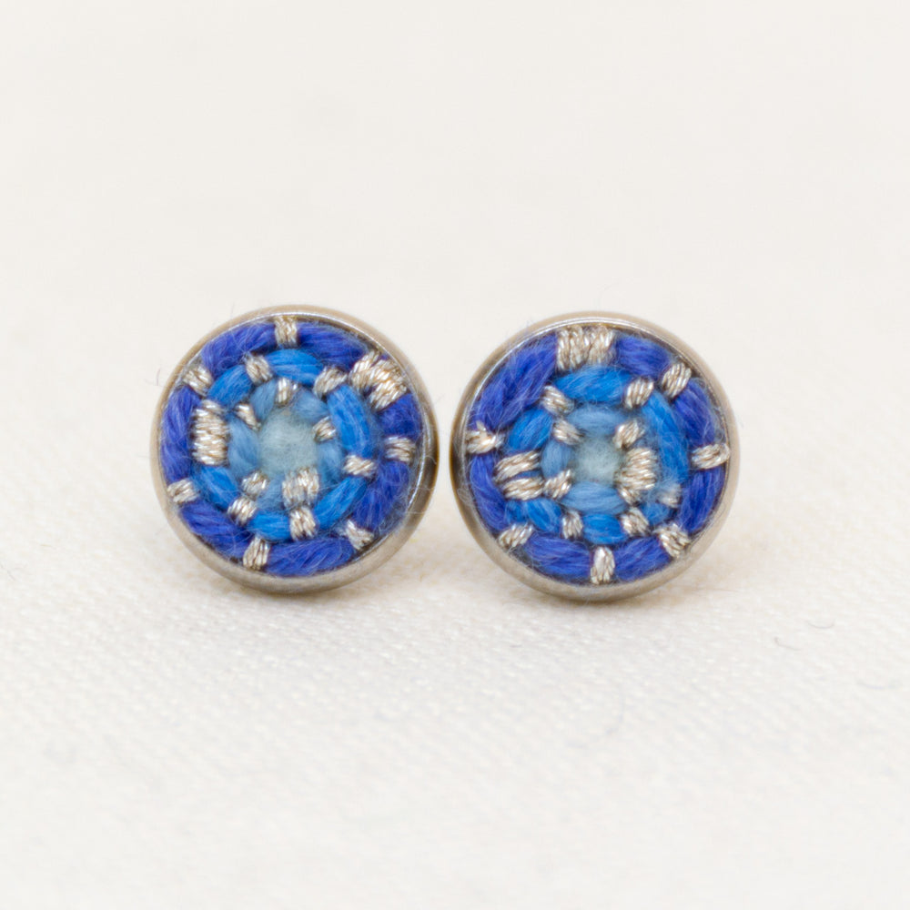 Holiday Icicle Blue Stitched Studs