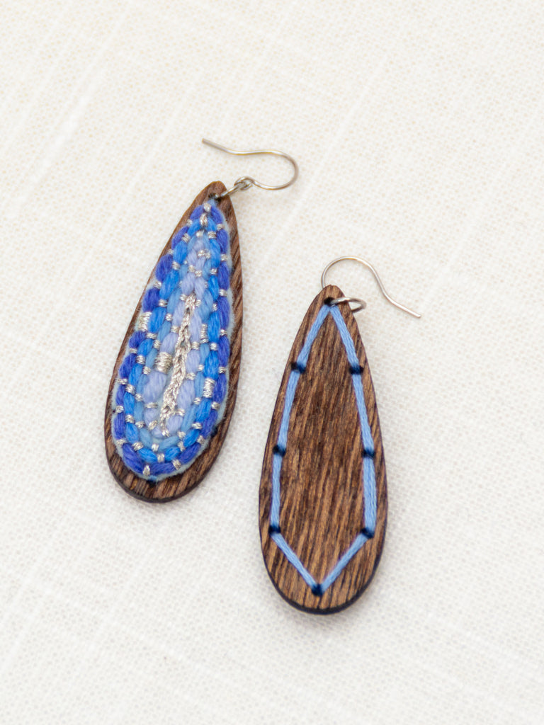 Holiday Icicle Blue Teardrop Earrings