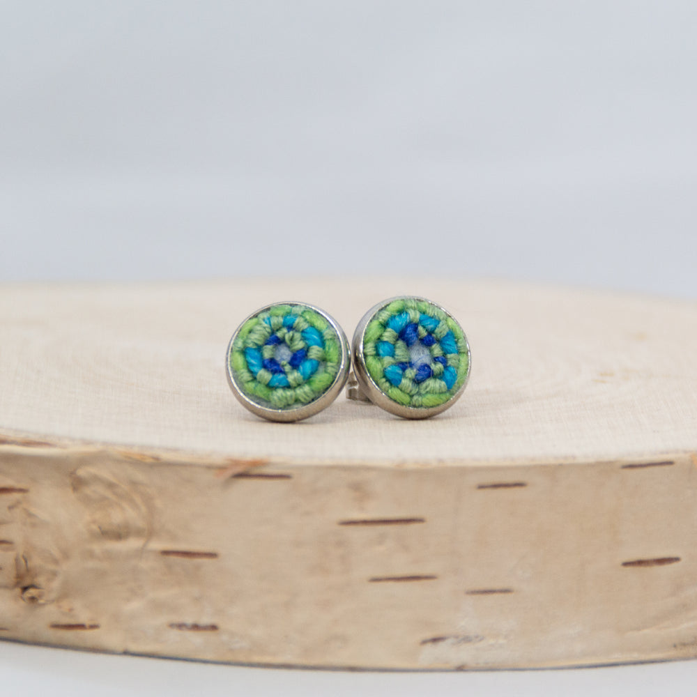 Green & Blue Stitched Studs