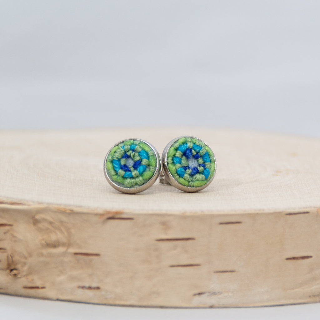 *NEW* Green & Blue Stitched Stud Earrings