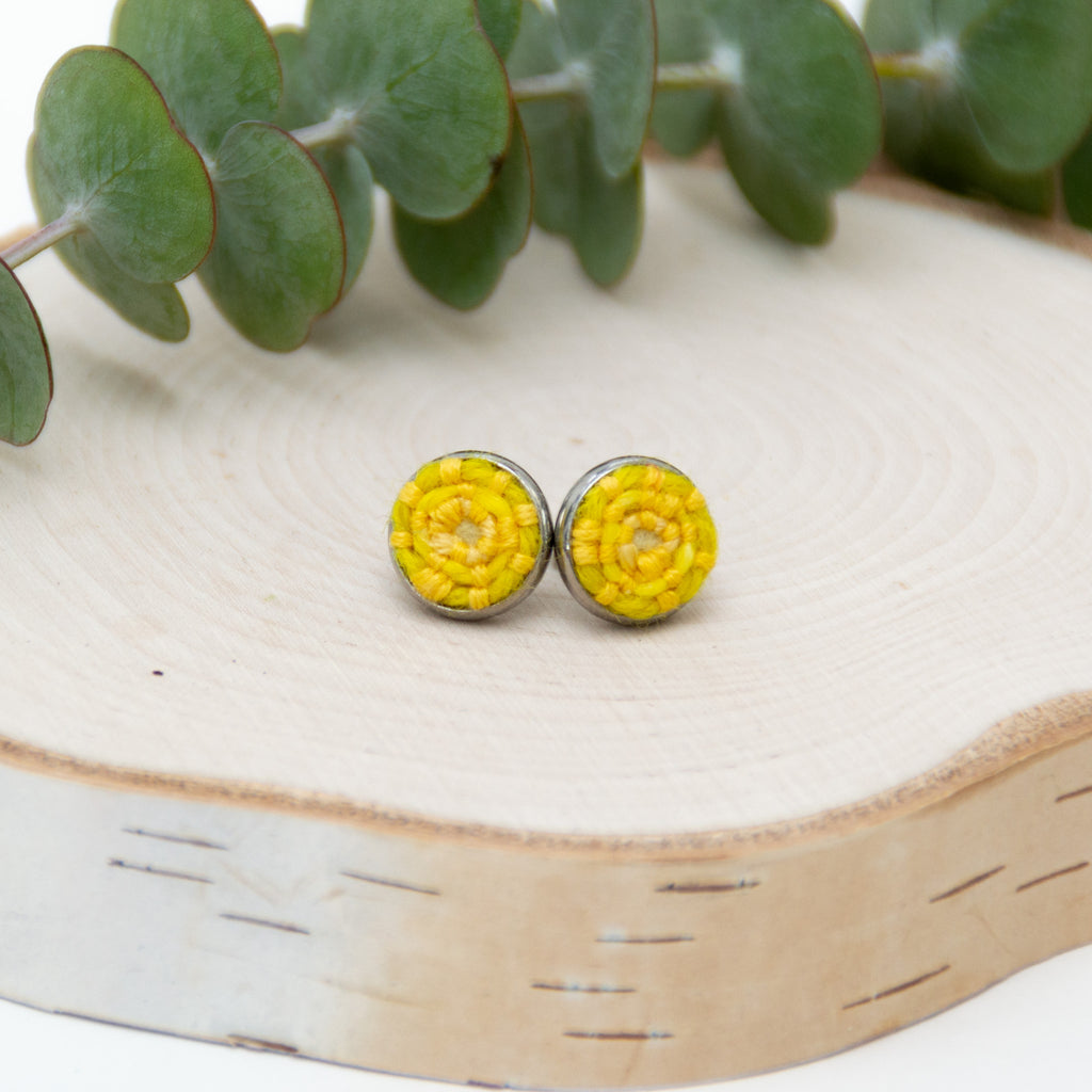 Lemon Yellow Stitched Studs