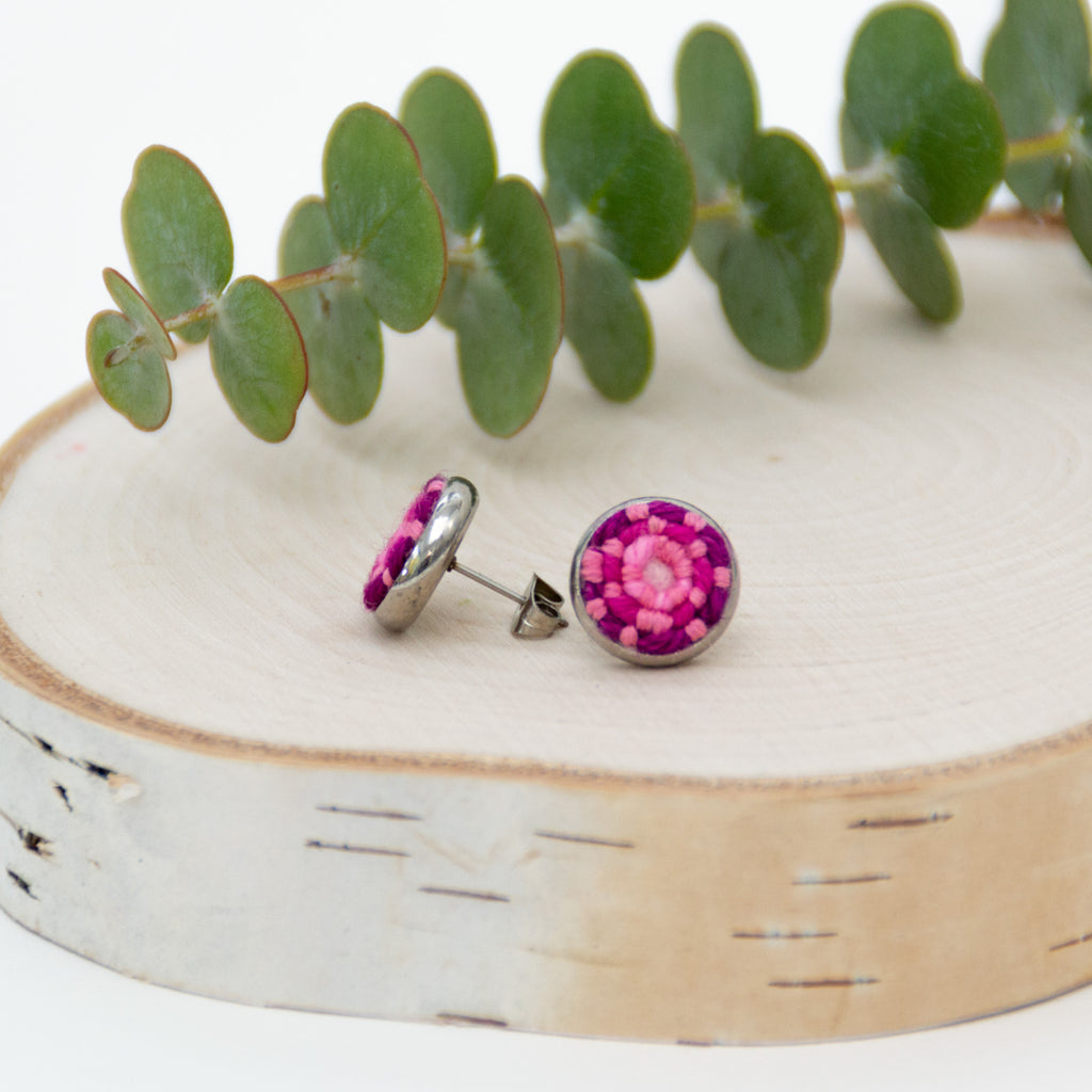 *NEW* Berry Pink Stitched Studs