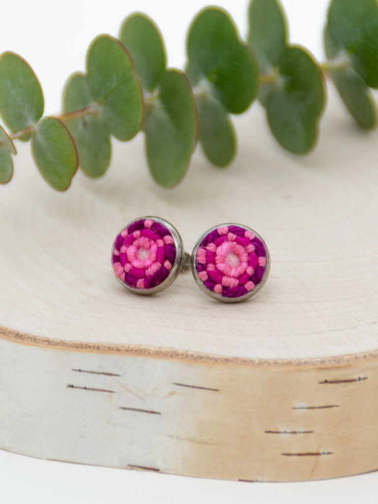Berry Pink Stitched Studs