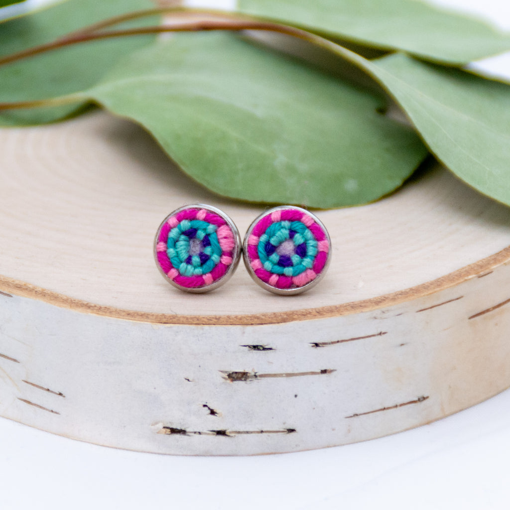 *NEW* Pink and Teal Stitched Studs