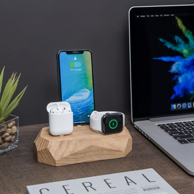 Base de carga triple roble iPhone, Apple Watch, AirPods