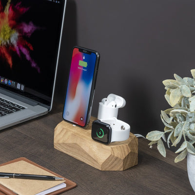 Base de carga triple iPhone, Apple Watch y AirPods Madera