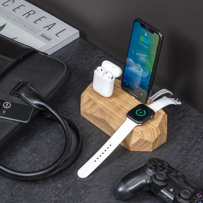 Base Carga Inalámbrica Apple Watch/iPhone/AirPods Madera Roble