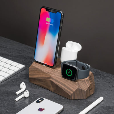Base de carga triple nogal iPhone, Apple Watch, AirPods